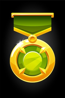 Gold round medal with a gem for the game. illustration of an award with a green diamond.