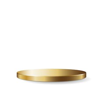 Золотая круглая подставка для подиума, изолированные на белом