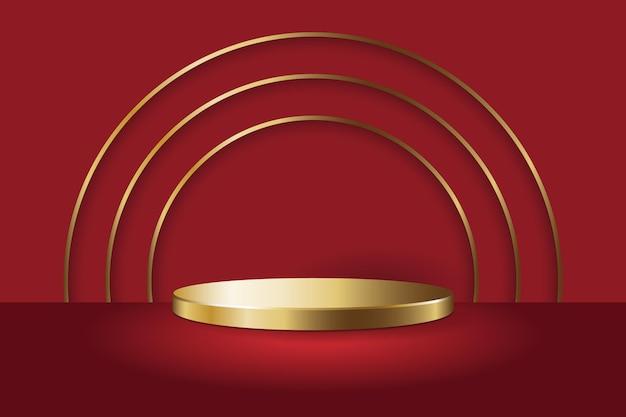 Золотая круглая подставка для подиума