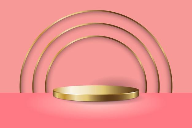 Золотой круглый подиум с золотыми круговыми линиями