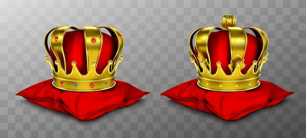 Gold royal crown for king and queen on red pillow.