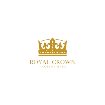 Gold royal crown logo design template