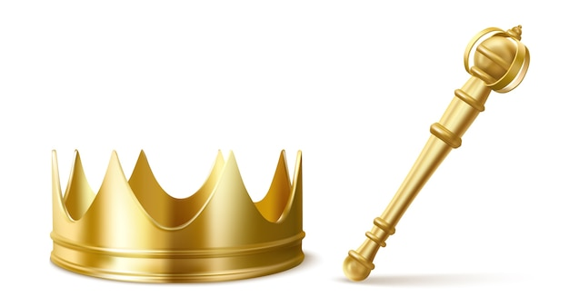 Gold royal crown and scepter for king or queen