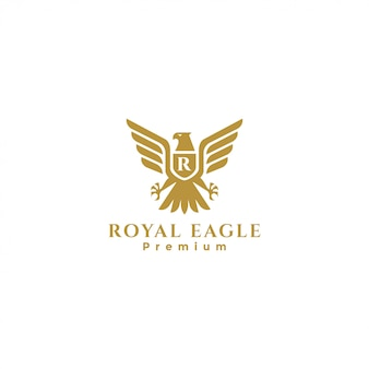 Gold royal eagle badge logo, falcon logo, hawk logo, eagle heraldic logo