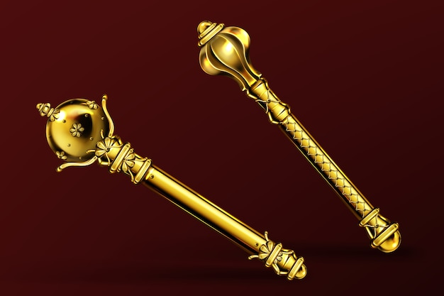Gold royal scepters, king and queen wands. vector realistic set of ancient golden rod, royalty symbol of monarchy and imperial power. medieval jewelry scepter, coronation insignia