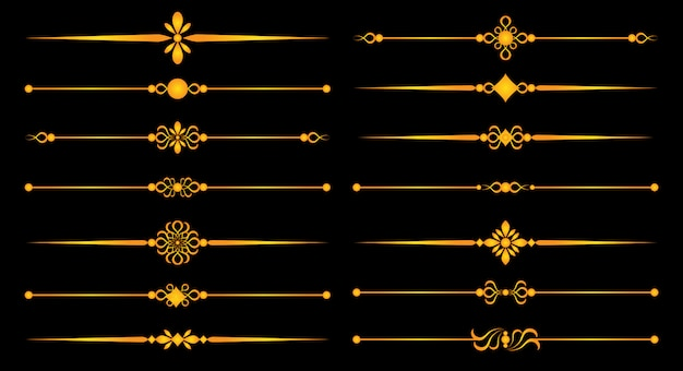 Gold rule lines and ornaments - set for elegant design, decorative elements separators