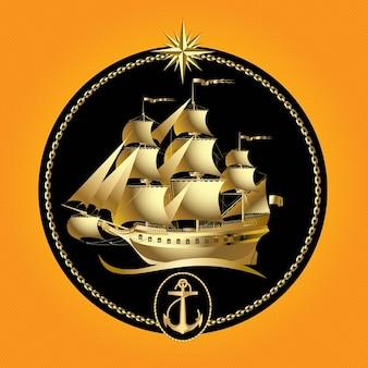 Gold sailboat