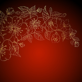 Gold sakura flowers on a red background