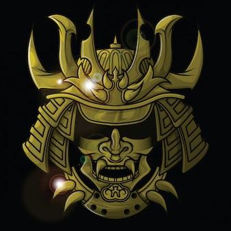 Gold samurai mask., tattoo concept.