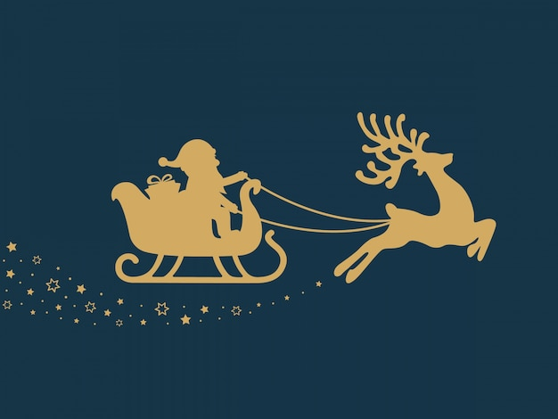 Gold santa sleigh stars blue background