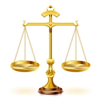 Золотая шкала правосудия на белом фоне.