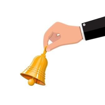 Gold school bell in hand illustration