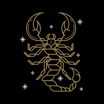 Gold scorpio astrological sign on a black background