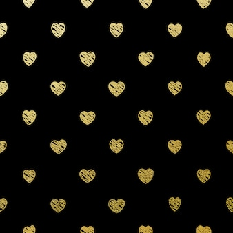 Gold seamless hearts on black.