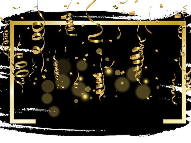 금 사문석과 색종이 검은 배경 벡터 일러스트 레이 션에 고립