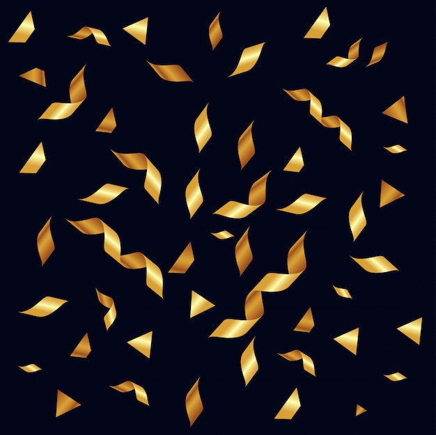 Gold serpentine ribbon and confetti