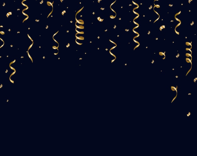 Gold serpentine with confetti and black background
