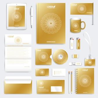 コーポレートアイデンティティテンプレートのゴールドセット。現代のビジネスステーショナリー。丸い金色の形で結ばれた線と点のブランディングデザイン。