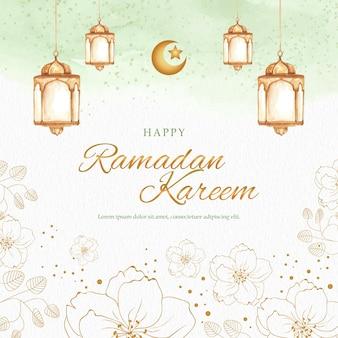 Цветы золотой формы с фонарем на зеленой поздравительной открытке рамадан карим