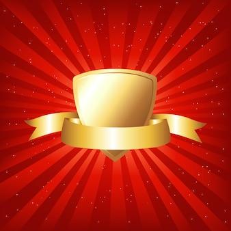 Золотой щит с лентой на красном фоне с лучами и звездами