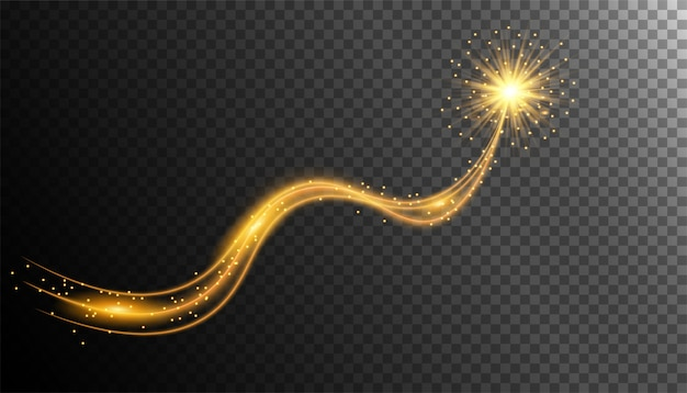 Gold shimmering with glittering star dust trail
