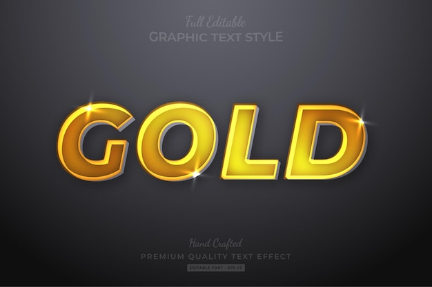 Gold shine editable text effect font style