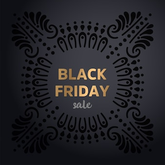 Testo oro brillante black friday su sfondo scuro