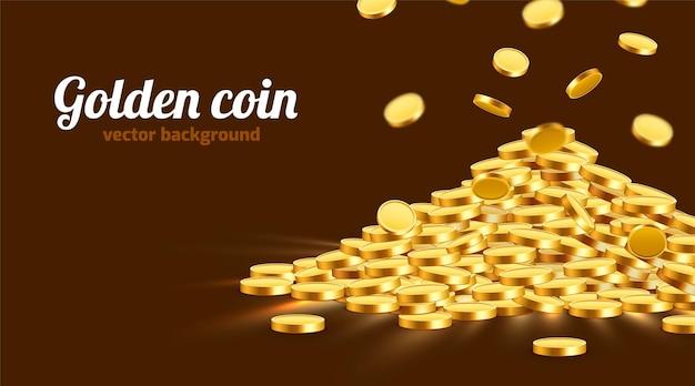 ヒープに星座が付いたゴールドの光沢のあるコイン。