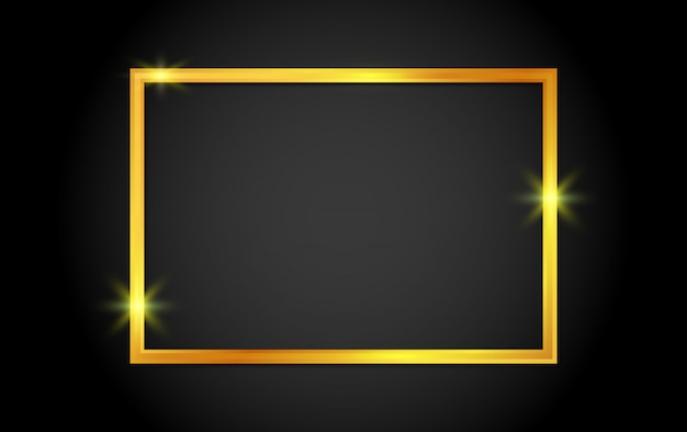 Gold shiny frame with shadows on background.