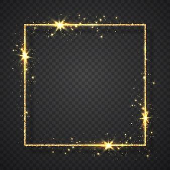 透明な背景に影が分離されたゴールドの光沢のあるキラキラ輝くヴィンテージフレーム。ゴールデンラグジュアリーリアルな長方形のボーダー。