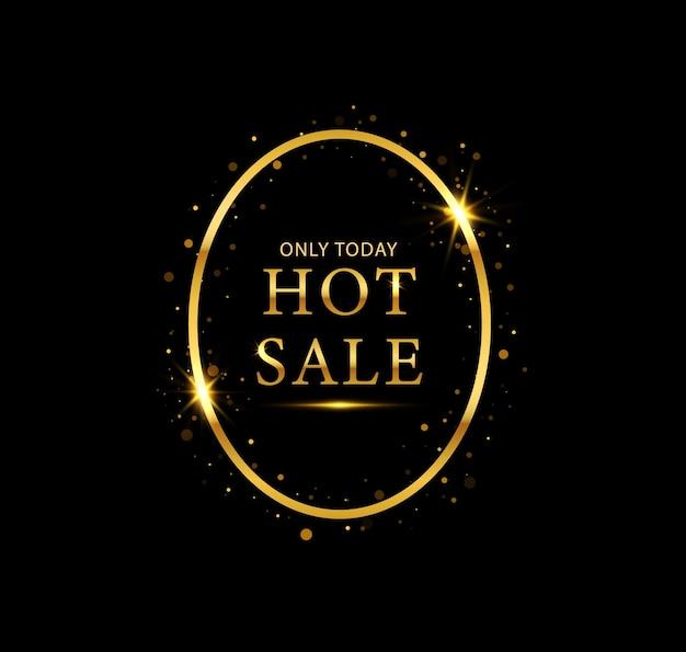 Gold shiny glowing frame for black friday hot sale