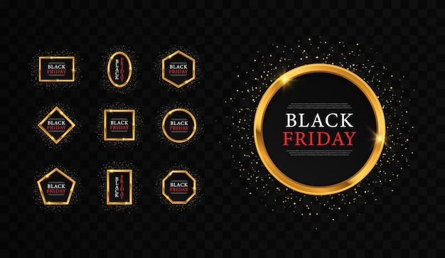Золотая блестящая светящаяся рамка для черной пятницы