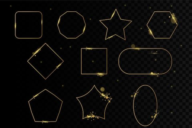 Золотые блестящие светящиеся рамки с тенями, изолированные на прозрачном фоне.