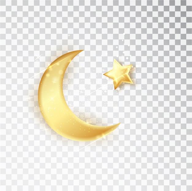 흰색 배경에 고립 된 스타와 함께 골드 반짝 빛나는 반달.