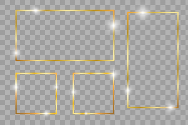 Gold shiny glowing vintage frame with shadows isolated on transparent