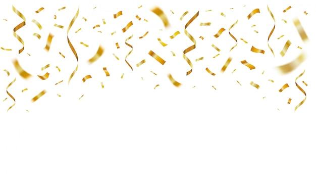 Золотые блестящие реалистичные конфетти. празднование золотого бумажного летающего конфетти, декорации к юбилею. праздничный шаблон падающих лент. желтая фольга серпантин для сюрприза поздравительную открытку