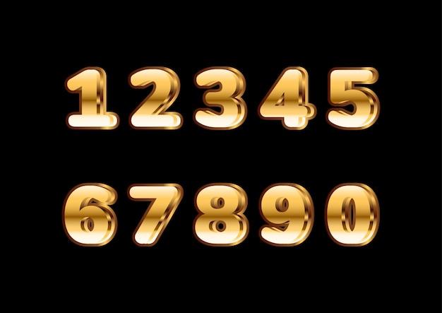 Набор золотых блестящих округлых жирных чисел