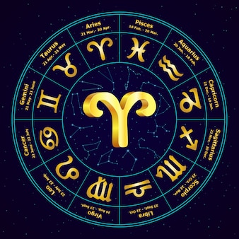 Gold sign of zodiac aries in circle.