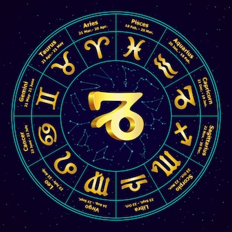 Gold sign of zodiac capricorn in circle