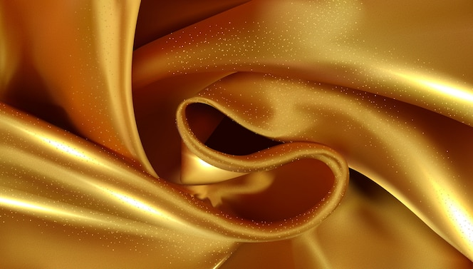 Gold silky fabric abstract background 3d illustration realistic swirled textile