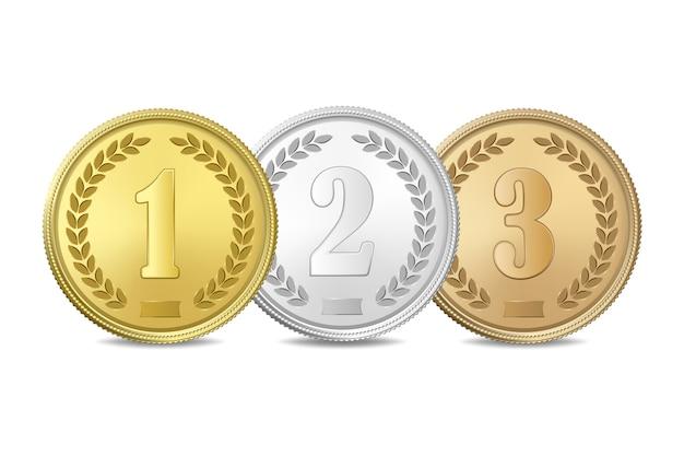 Золотые, серебряные и бронзовые медали на белом фоне. первый, второй, третий призы.