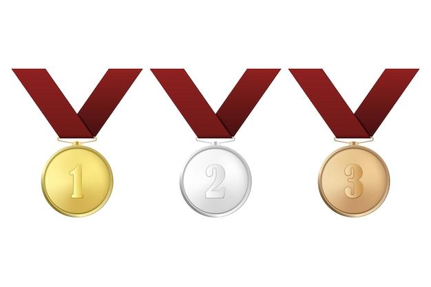 Золотые, серебряные и бронзовые медали с красными лентами на белом фоне. первый, второй, третий призы.