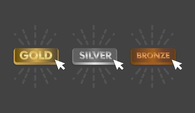 Золотые серебряные и бронзовые кнопки с векторной иллюстрацией значка щелчка мыши.