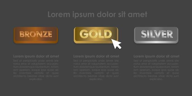 マウスクリックアイコンベクトルイラストで設定されたゴールドシルバーとブロンズボタン。