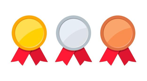 레드 리본 골드, 실버 및 브론즈 메달.