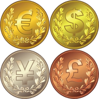 Золотая, серебряная и бронзовая денежная монета с лавровым венком и знаками основных валют: евро, доллар, фунт, юань, иена
