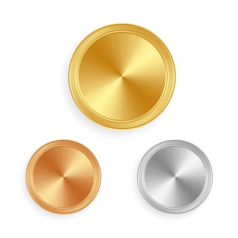 Gold silver and bronze shiny labels or coins vector