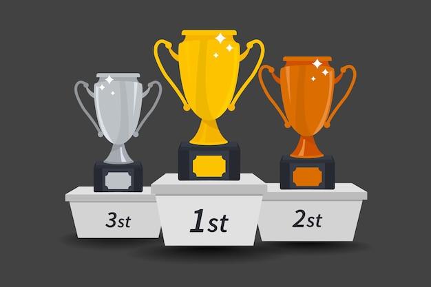 ゴールド、シルバー、ブロンズの勝者カップ。トロフィーカップ。 1位賞。勝者のトロフィー。コンテストで1位、2位、3位を獲得したことに対する賞
