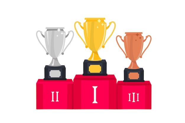 ゴールドシルバーとブロンズの勝者カップトロフィーカップ1位賞受賞者のトロフィー