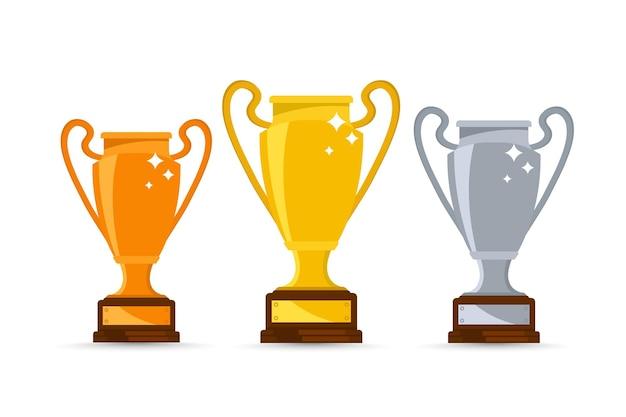 Золотой, серебряный и бронзовый кубки призеров. трофей победителя, символ победы в спортивном мероприятии. набор различных кубков чемпионов. призовые кубки победителя игры, спортивные трофеи, кубковые призы за рейтинговые места